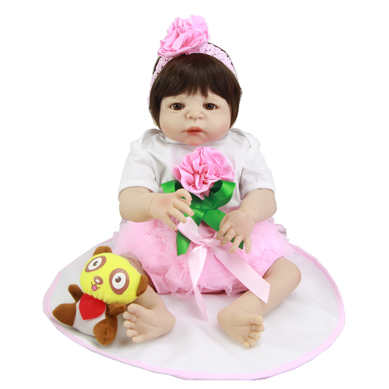 Graceful 23 Inch Lifelike Reborn Dolls Realistic Newborn Baby Girl Full Silicone Vinyl Doll Toy With Pacifier Kids Birthday Gift<br><br>Aliexpress