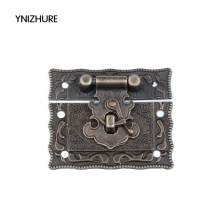 10 Sets Antique Brass Metal Hook Purse Hasp Lock Vintage Wooden Jewelry Box Latches Clasp Hasps Buckle 43*51mm Free Shipping(China)