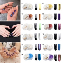 1 Pcs Mirror Effect Glitter and Brush Nail Art Glitter Sets Holographic Fine Silver Chrome Pigment DIY Powder Nail Art W1
