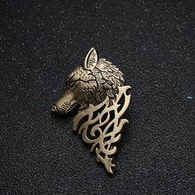 2 pcs Charming Vintage Men Punk Wolf Badge Brooch Lapel Pin Shirt Suit Collar Jewelry  Wolf Brooch