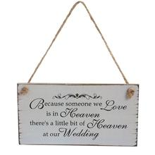 Rectangle Wedding Decorative Sign Hanger Wooden Wedding Plaques Hanging for Ornmanet Wedding Party Decor(China)