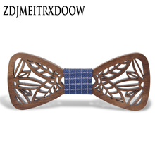 New Arrival Hollow Wood Bow Ties for Mens Wedding Suits Wooden Bow Tie Butterfly Shape Bowknots Gravatas Slim Cravat(China)
