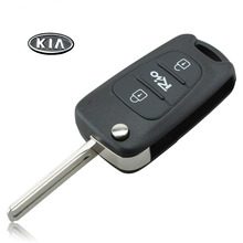 3 Buttons Car Flip Folding Remote Key Shell Case Blank Cover For Kia Rio  WIth KIA  LOGO