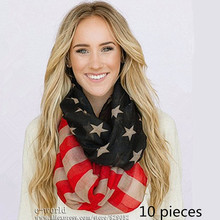 10pcs Vintage American Flag Scarf Ring USA Flags Infinity Scarves 4th of July Women Square Scarfs Shawls Girls Accessories A0407