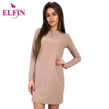Dresses Women O-Neck Shift Dress Long Sleeve Fashion Office Dress Casual Bow Women Mini Solid Dresses Plus Size LJ9015R