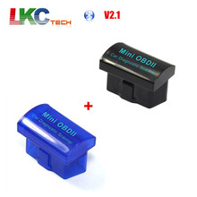 Wholesale 1pcs Black MINI OBD2 ELM327 Bluetooth +1pcs Blue Mini OBD2 ELM327 V2.1 Bluetooth Auto Car Scanner Diagnostic Interface(China)
