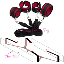 Buy Adult Game Sex Products Bed BDSM Bondage Restraint Hand Ankle Cuffs Bondage Kit Fetish Erotic Sex Toys Couples Flirt