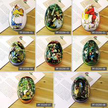 9 Styles Easter Bunny Chick Printing Metal Trinket Tin Easter Eggs Shaped Candy Box Tinplate Case Party Decoration