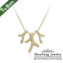Top Quality N261 Coral Reef Crystal Gold Pated Pendant Necklace Jewelry Austrian Crystal Wholesale