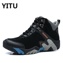 2017 New Autumn Winter Suede Men's Anti Slip Outdoor Sport Hiking Boots Wool Fur Lining Men Mid Hiking Shoes Warm Trekking Shoes
