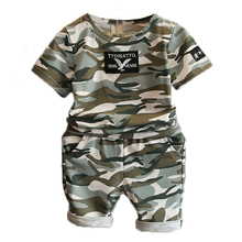 Summer 2017 Camoflage Style Boys Clothing Sets Fashion Kids Clothes Boys Sport Suit 2Pcs Clothes for Boys New Baby Boys Clothing