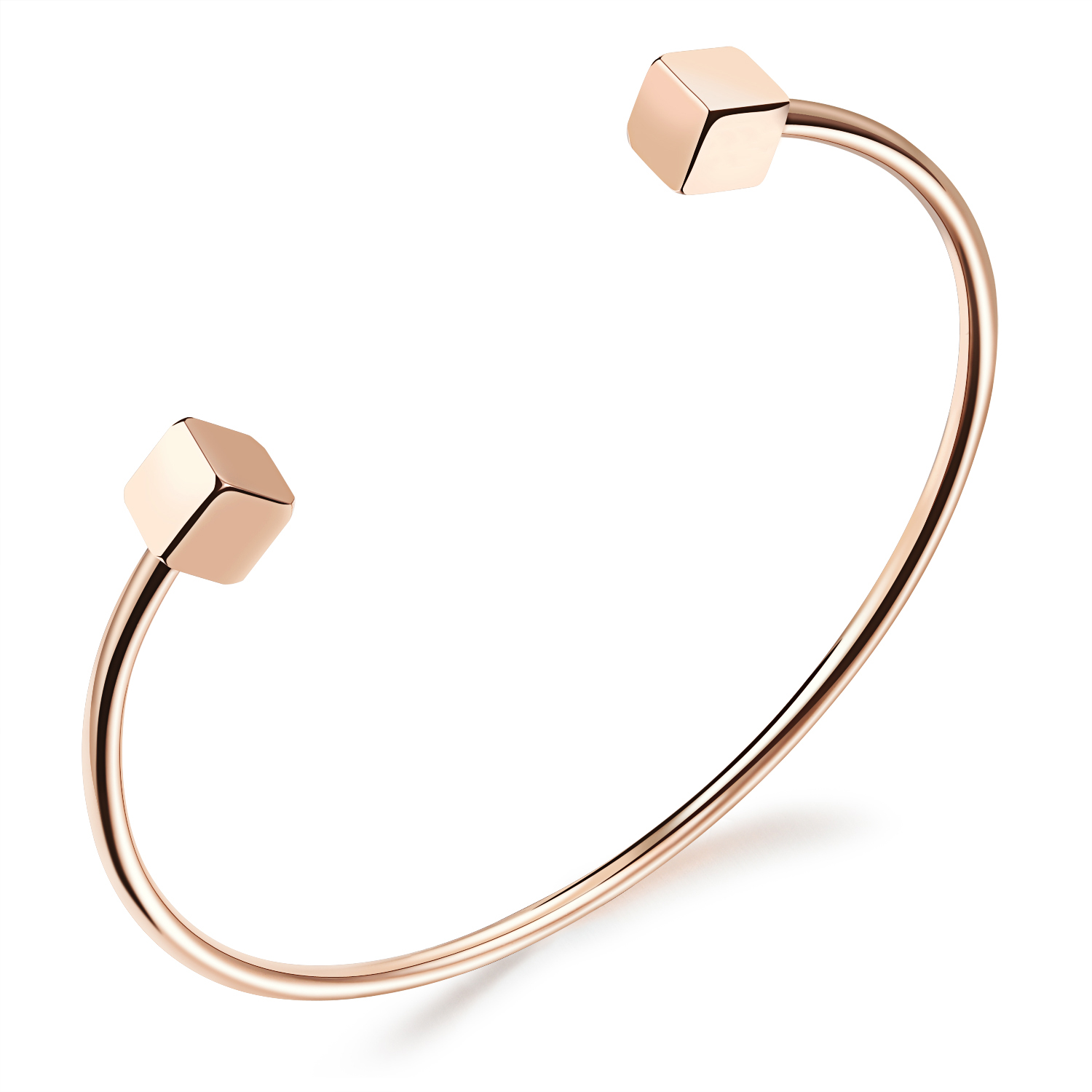 Simple Stainless Steel Double Cube Shaped Woman Cuff Bangle Rose Gold color Party Jewelry Classical open Bracelet Gift(China)