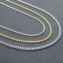 Women & Man Necklace Stainless Steel Silver O Twisted Link Chain Necklace Fahsion Stainless Steel Jewelry 2.2/2.8mm*40cm-90cm