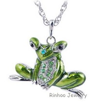 Pretty Animal Vintage Enamel Pendants Frog Pendant Necklace Enamel Acrylic Rhinestone Girls Jewelry Free Shipping