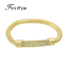 FANHUA Gold Color bracelets Pulseras Rock Multicolor Rhinestone Elastic Chain bracelets For Women and Men