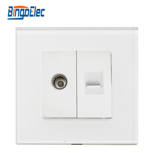 Three color,EU/UK television socket plus RJ45 internet socket, glass panel,CE certification,(China)