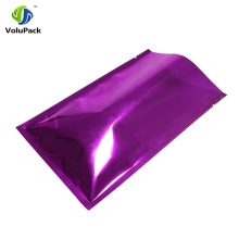 12x18cm(4.75x7in) Glossy Purple Metallic Mylar Foil Packing Bag Heat Seal Open Top Storage Bags with Tear Notch 100pcs