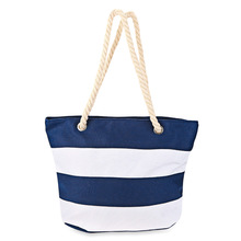 New Women Hangbags Fashion Large Capacity Casual Stripe Canvas Traveling Tote Bag Shoulder Brand Mcvilla(China)
