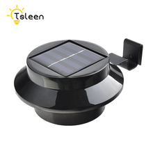 TSLEEN 1/2/4pcs Black/White SuperBright Outdoor Solar Powered Round LED Gutter Light Garden Yard Pathway Eaves Lamp Cheap NEW