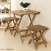 Natural Finish Handmade Solid Fir Wood Folding Side Table(China)