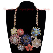 Frenzy Gorgeous Spring Lady Jewelry White Pearl Blue Clear Glass Colorful Resin Flower Necklace