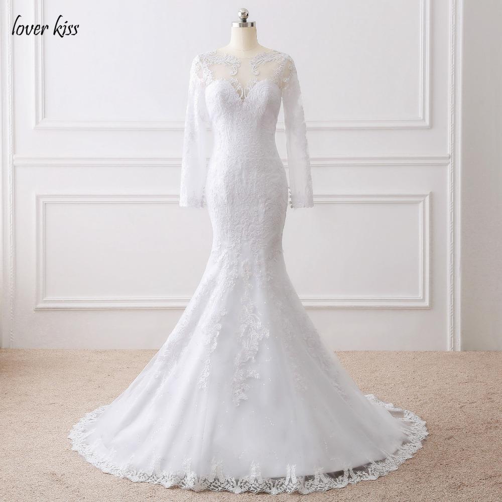 Lover Kiss Vestido De Noiva 2017 Elegant Wedding Gowns Bridal Dresses Popular Vintage Mermaid Long Sleeves Lace Wedding Dress 1