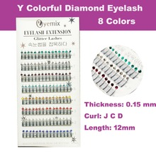 Free Shipping Y Glitter Eyelash Extension 8 Colors New Professional Y Eyelash Extension With Diamond 12mm length(China)