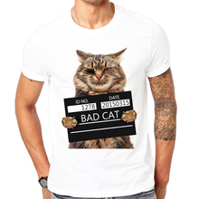 2017 Latest funny print design Bad cat Summer T-shirt Cool men spring summer shirt brand fashion shirt cool tops