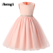 New summer Pink Children Dresses For Girls Kids Formal Wear Princess Dress For Baby Girl 8 Year Birthday Party Dress(China)