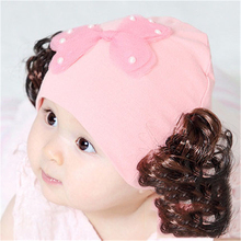 Cute Baby Girl Wig Hat For Kids Winter Baby Caps For Newborn Beanie Fashion Lovely Winter Toddler Hat Infant Warm 703304