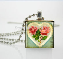 1 pc Gift for Valentine's Day Jewelry Shabby Chic Heart and Roses Scrabble Tile Pendant necklace