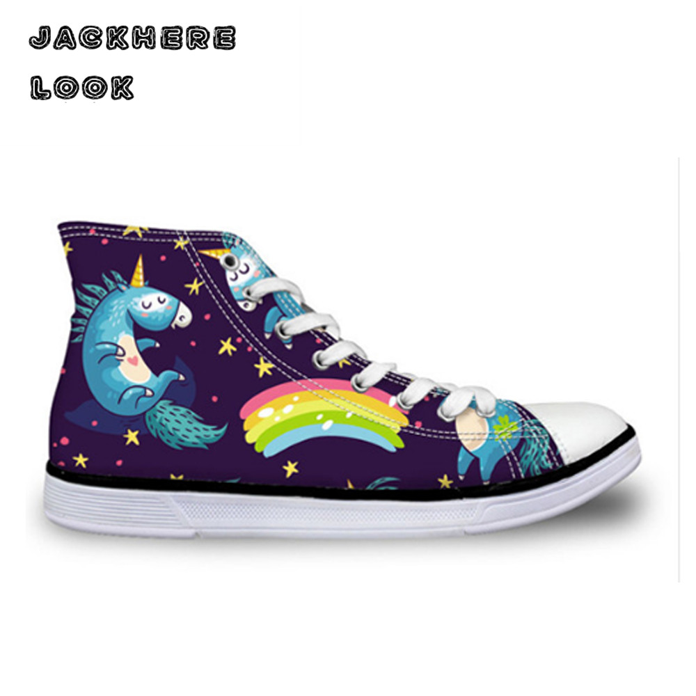 JACKHERELOOK Unicorn Print Canvas Shoes Girl High Top Flat Shoe Women High Top Canvas Sneakers Lace-up Walking Flat Shoe Leisure<br>