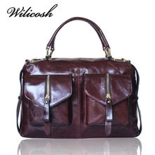 Wilicosh Famous Brand Women's Bag Genuine Leather Handbag Women Messenger Bags Vintage Style Double Pockets Shoulder Bags HC255(China)