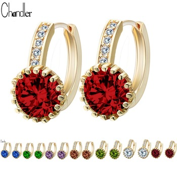 Brand New Silver Gold Plated 8 Colors Big Round CZ Crystal Earrings With Zircon Stone For Women Birthday Gift Bijouterie