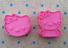 Wholesale 10 Sets/lot Cake Decorating Tools,2pcs/set Hello Kitty Cake Cookie Candy Biscuit Jelly fondant  Cutters Free Shipping