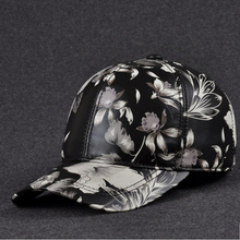 JA0110 Unisex Real Leather Printed Feather 55-60 cm Adjustable Flowered Baseball Caps For Man Woman Ponytail Golf Dome Hats