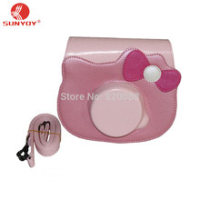 Camera Case Bag in Pink Color with Bowknot for Fujifilm Instax Mini Hello Kitty Camera with Shoulder Strap, free shipping(China)