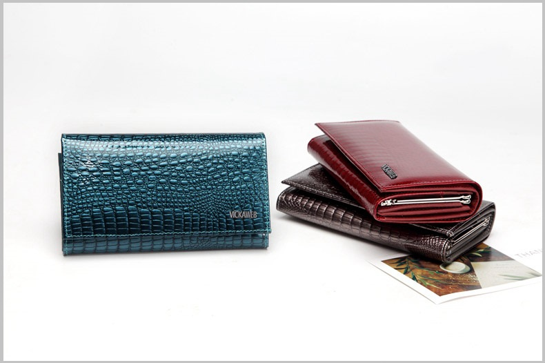 VICKAWEB Genuine Leather Small Wallet Women Wallets Alligator Short Purse Coins Hasp Girls Wallet Fashion Female Ladies Wallets-019
