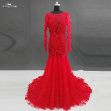 Buy RSW1140 Real Pictures Yiaibridal Mermaid Long Sleeves Lace Boat Neck Wedding Dresses Red for $266.00 in AliExpress store