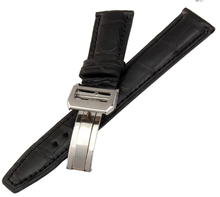 20mm 21mm 22mm New High Quality Silver Deployment Buckle Crocodile Leather Black Blue Brown Watch Bands strap Free Shipping