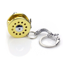 Trolling Fishing Reel Golden Key Chain And Fly Reel Key Chain Key Rings(China)