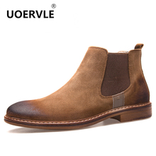 2017 NEW Kanye West Vintage Style Chelsea Boots Top quality Leather Suede Men Shoes Luxury Brand Chelsea Men Boot bota masculina(China)