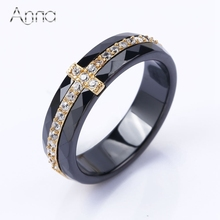 A&N Golden Black&Silver White Ceramic Rings Inlay Cubic Zircon Stones Punk Female Rhinestone Rings For Women Ceramic Cross Rings