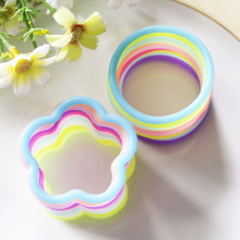 Fluorescence Color Silicone Rubber Band Women Lady Girls Elastic Hair Bands Ring Flower Shape Headwear Hair Circle 20 pcs FS0427