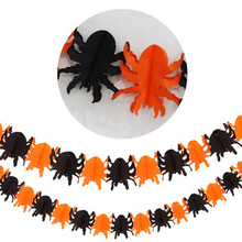 Eco-friendly Portable Spider Sticker Ribbons Orange Black Spider Pattern Pull Flowers Decoration Pumpkin for Halloween Party #20