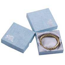 24PcsFree Shipping 24pcs 9*9*2.2cm  blue  Silver Rose Print Bangle/Bracelet Paper Gift Boxes,Xmas/Christmas Party Gift Box