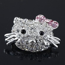 Silver plated Mix Crystal Rhinestone Hello Kitty Connectors Charm Beads For Side Ways Bracelet Diy Jewelry Findings(China)