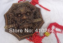 SCY $Nice Discount$ 9.6 inch China Pure Bronze Buddhism Lion Head Statue Mask BiXie Protect Wall Hang Amulet