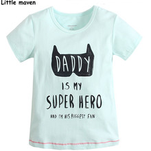 Little maven 2017 summer baby boys / girls t shirts children Cotton letter printing daddy my super hero t shirts brand tops L013