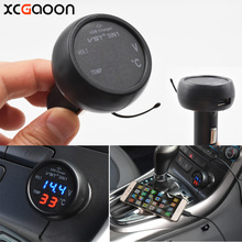 XCGaoon 12V / 24V 3 in1 Digital Voltmeter Thermometer 5V 2.1A USB Car Charger Adapter for iPhone & all Mobiles Car DVR Pad